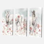 East Urban Home Farmhouse Premium Watercolors Pink Wild Horses Painting Multi Piece Image On Canvas Wayfair