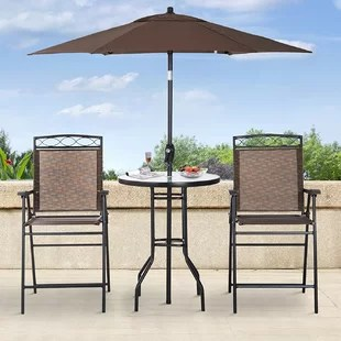 kaitlynn round 2 person 27 5 long bar height dining set with umbrella