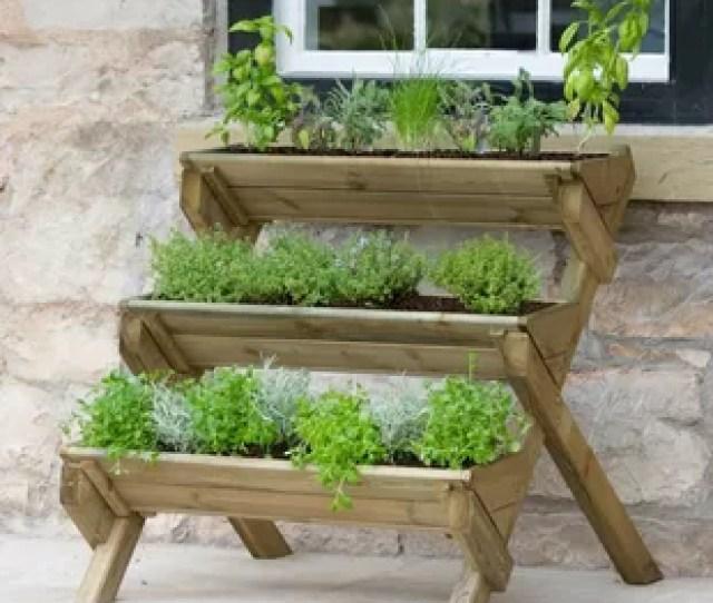 Kundani Stepped Herb Wooden Vertical Garden
