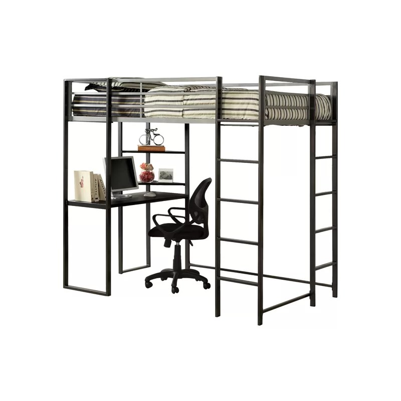 Rhys Loft Twin Bed With Desk And Shelf