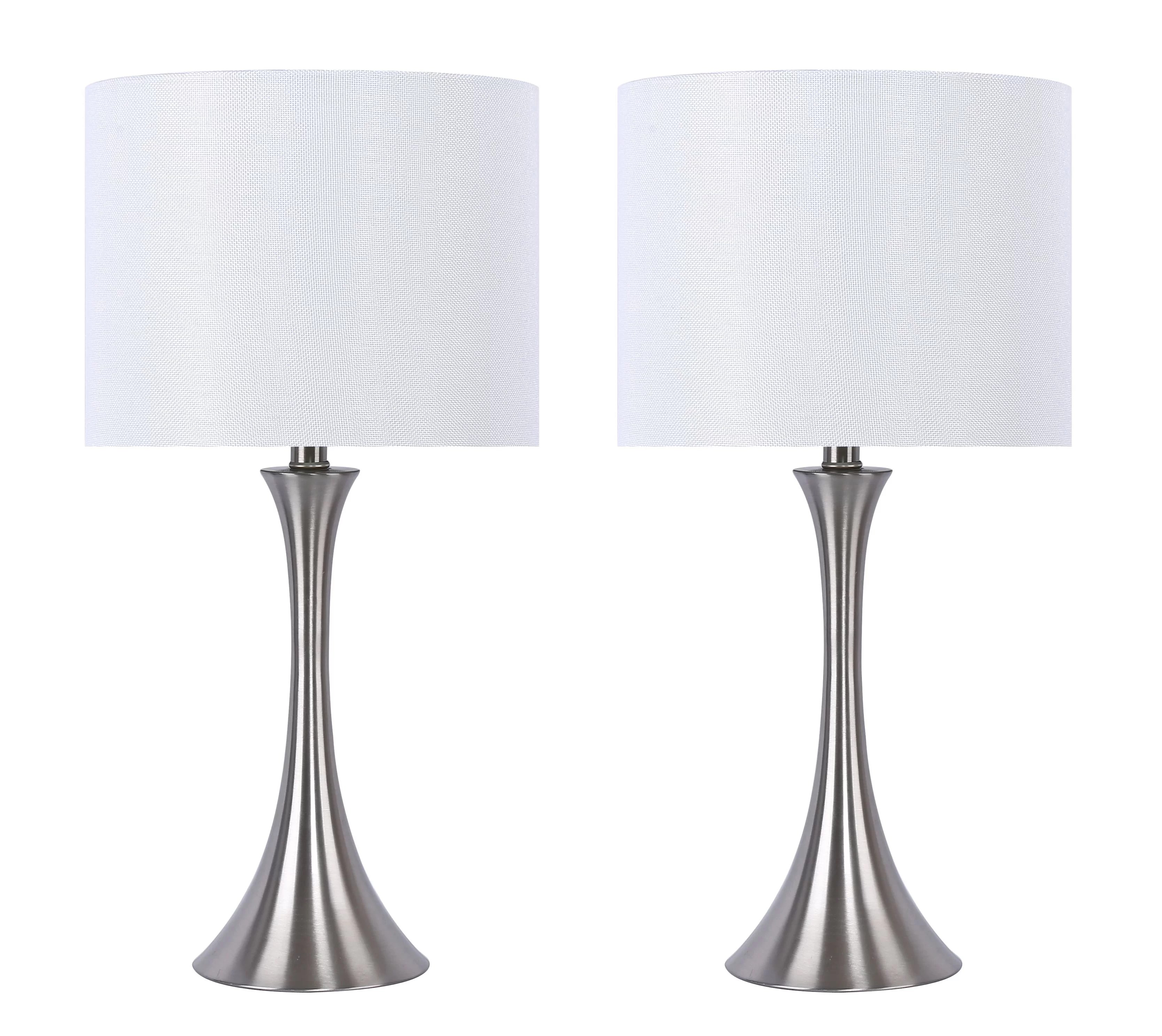 Orren Ellis Lapoint 24 25 Brushed Nickel Table Lamp Set Reviews Wayfair