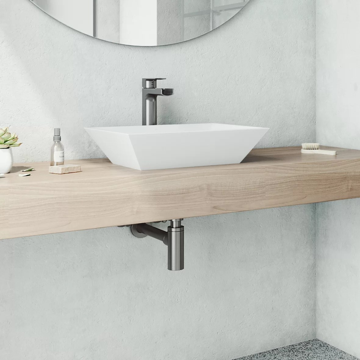 vinca white stone handmade rectangular vessel bathroom sink with faucet