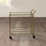 Home Collection Contemporary Modern Glam Sleek Metallic Gold Finish Metal Marble Mobile Tiered Bar Cart Drink Server Buffet Serving Cart Game Recreation Room Furniture Furniture