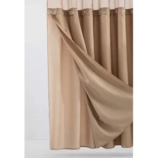 nala 2 piece solid color shower curtain set