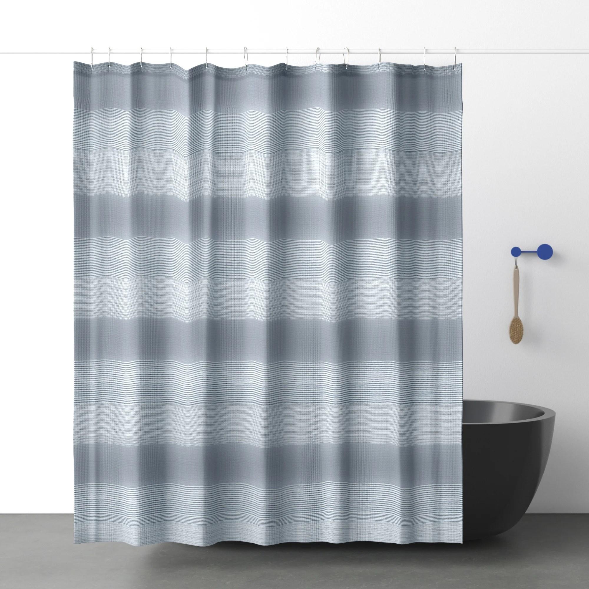 gray multi stripe shower curtain