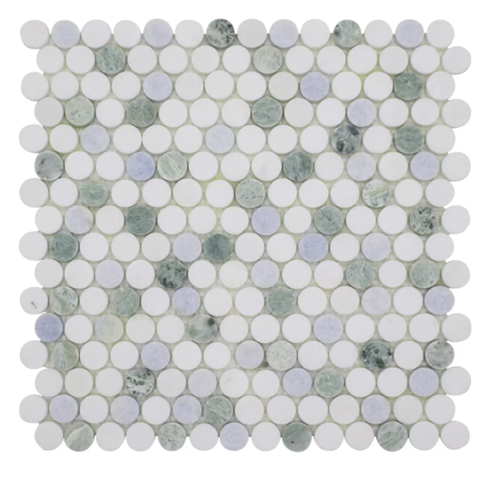 0 75 x 0 75 marble penny round mosaic wall floor tile