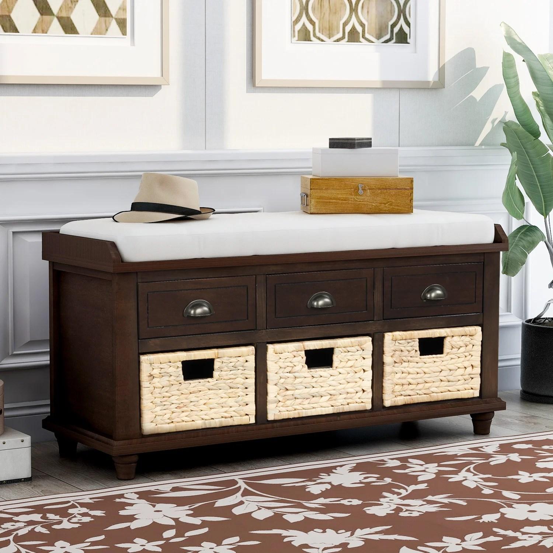 banc de rangement rustique avec 3 tiroirs et 3 paniers en rotin avec rangement pour chaussures avec coussin amovible pour le salon l entree