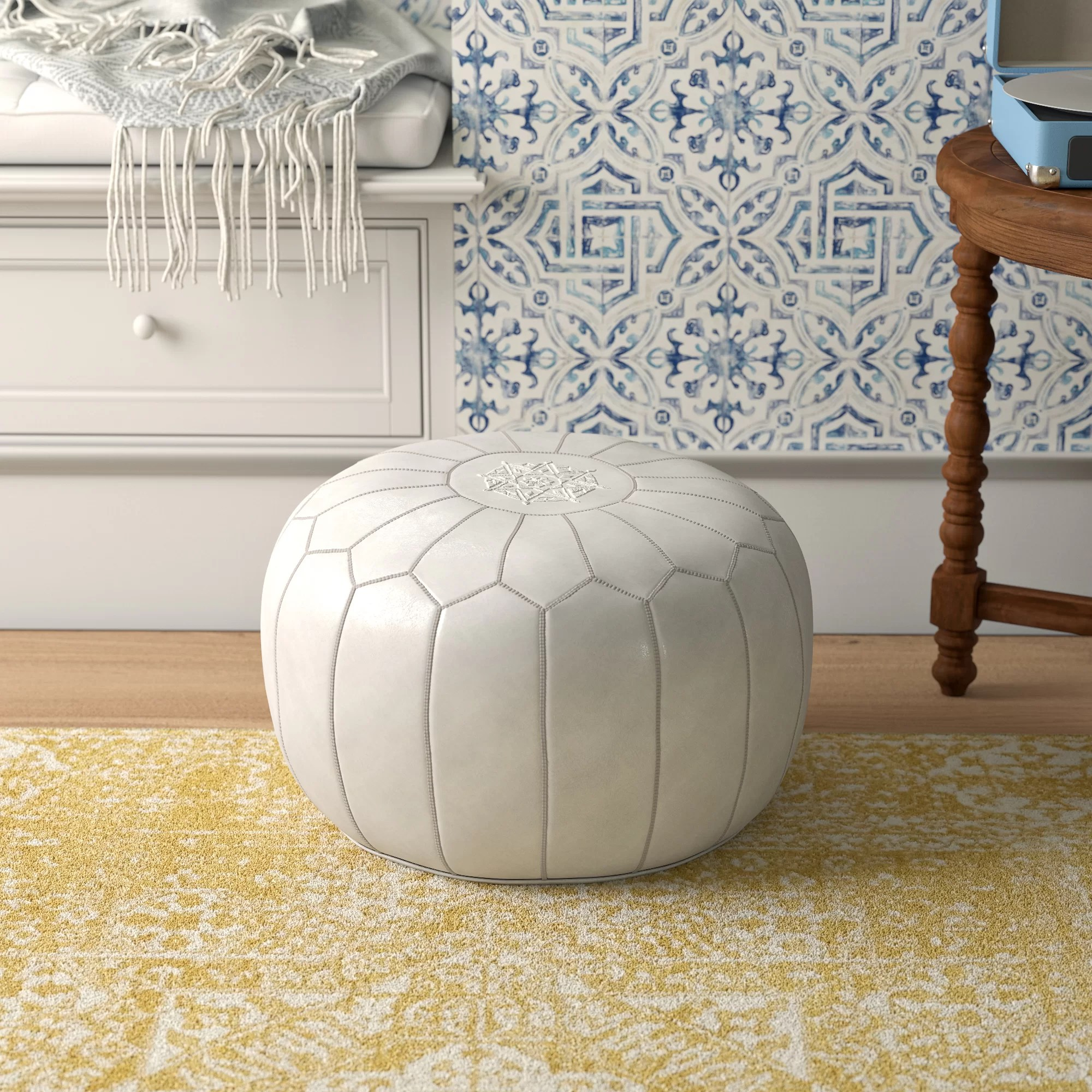 leather small ottomans poufs you ll