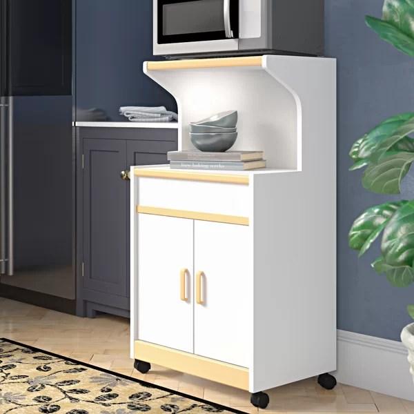 white microwave cart