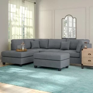 hemphill 104 wide reversible sofa chaise with ottoman
