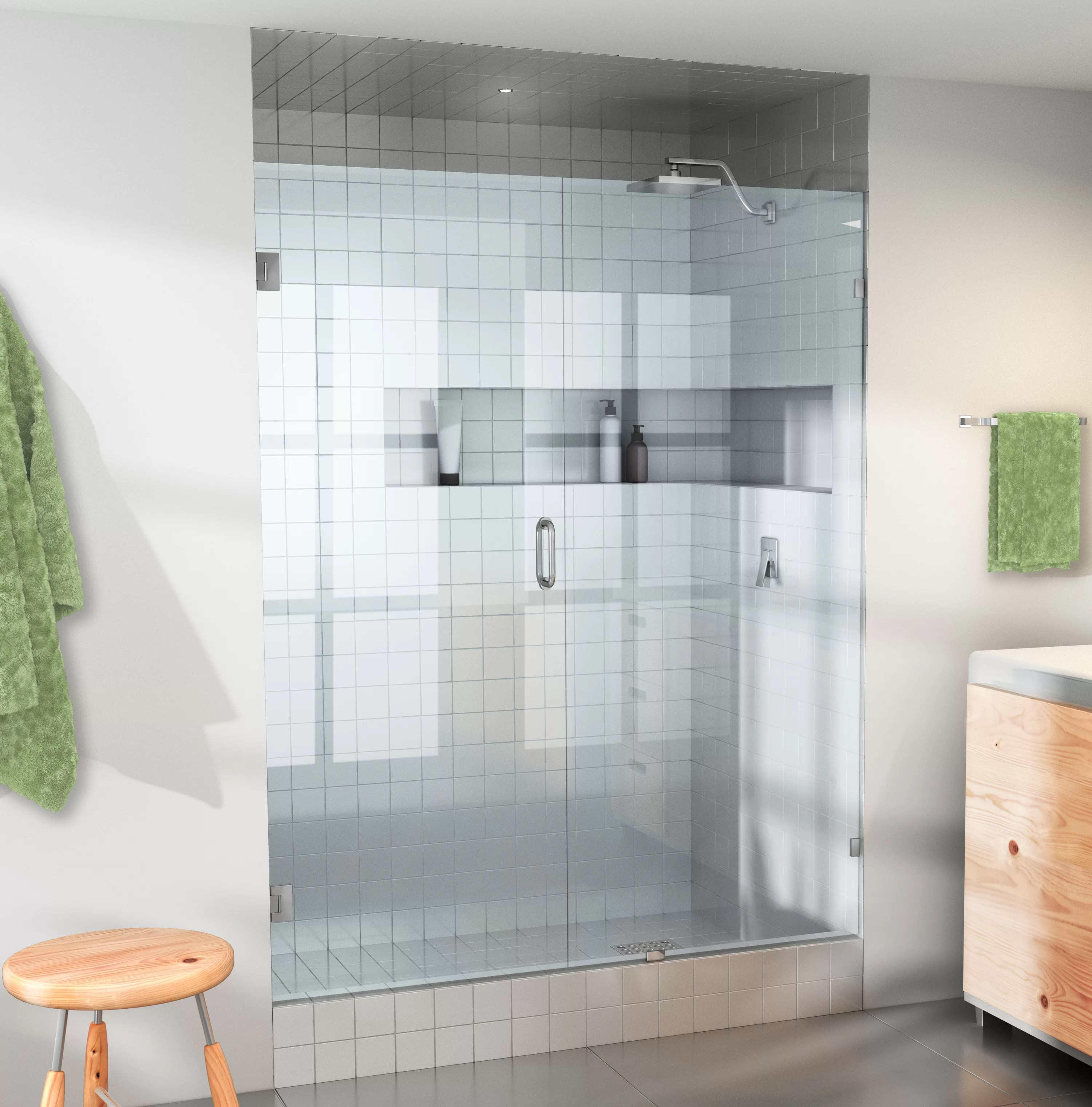 58 X 78 Hinged Frameless Shower Door