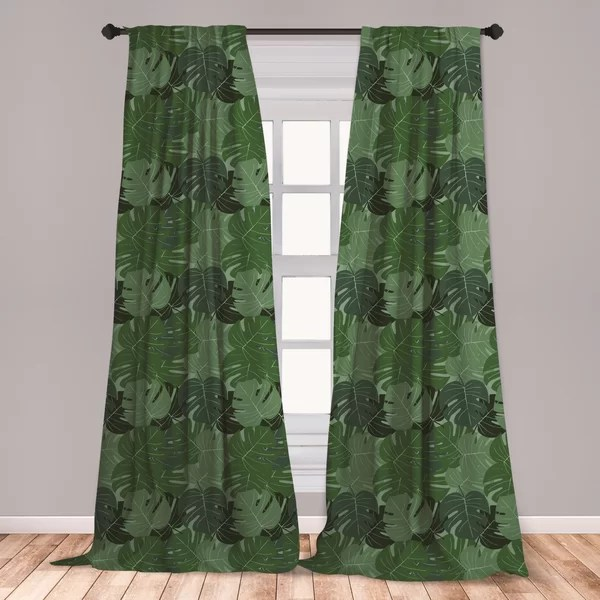 https www wayfair com decor pillows pdp east urban home ambesonne forest green 2 panel curtain set camouflage pattern of palm leaves tropical nature themed foliage lightweight window treatment living room bedroom decor 56 x 63 sage green pale green ebku3601 html