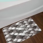 Geometrical Black Modern Bath Rug