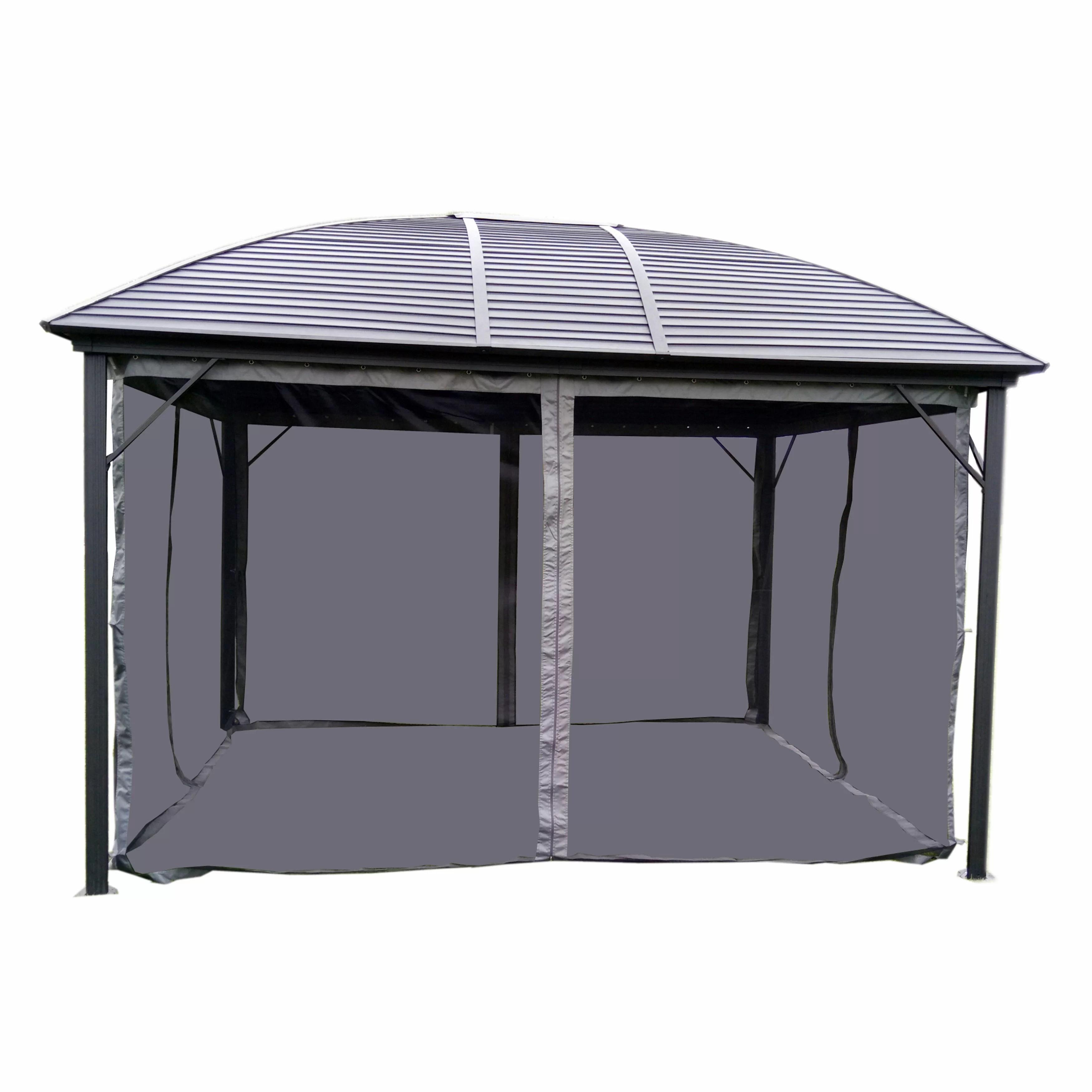 round roof 12 ft w x 10 ft d metal patio gazebo