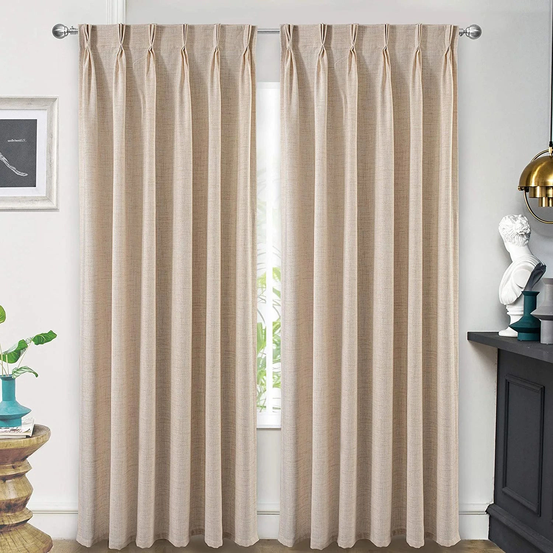 arion linen room darkening thermal pinch pleat curtain panels