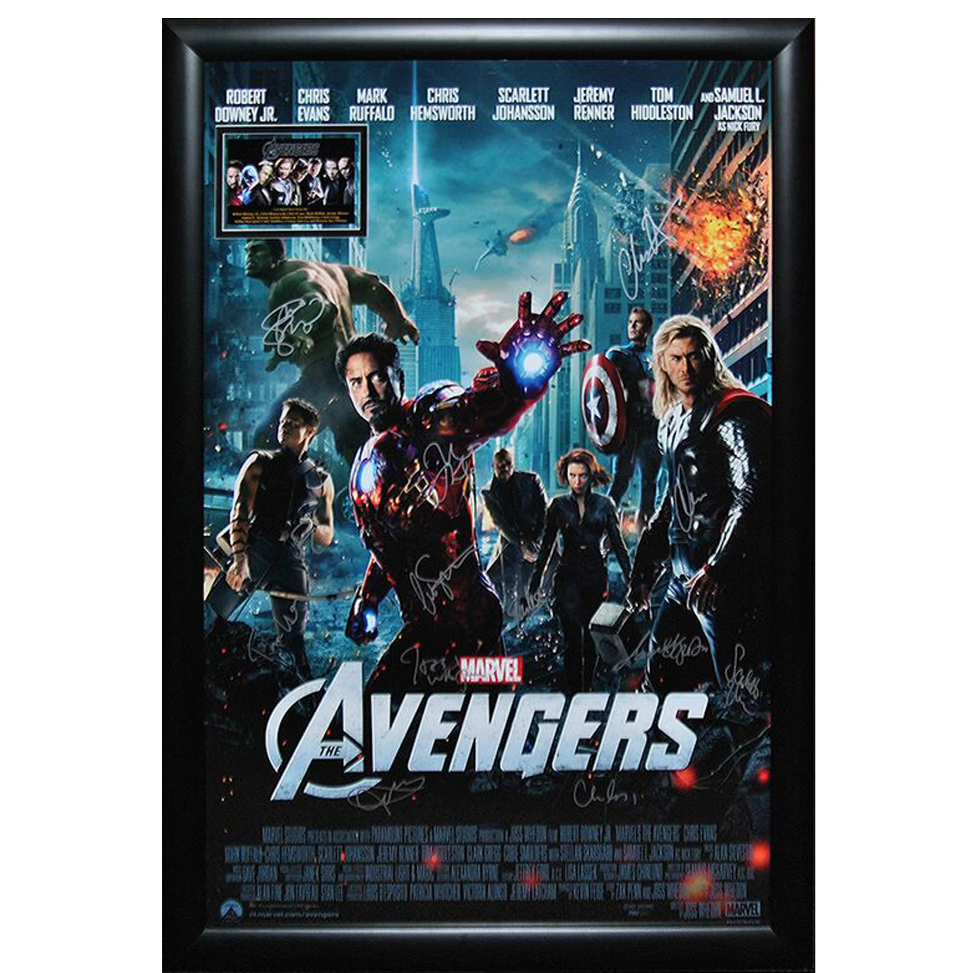 the avengers cast autographed movie posters