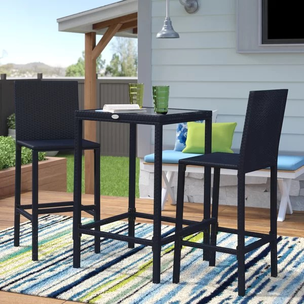 hadlee square 2 person 24 long bar height dining set