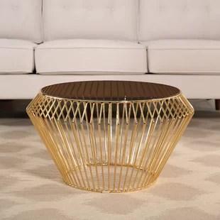 round rose gold coffee table | wayfair