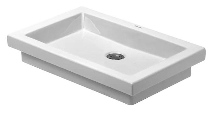 2nd floor ceramic rectangular drop in bathroom sink