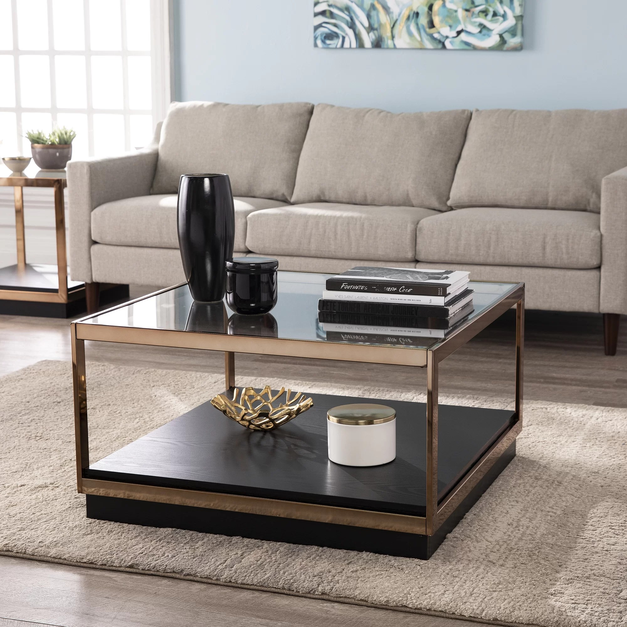 lexina frame coffee table with storage