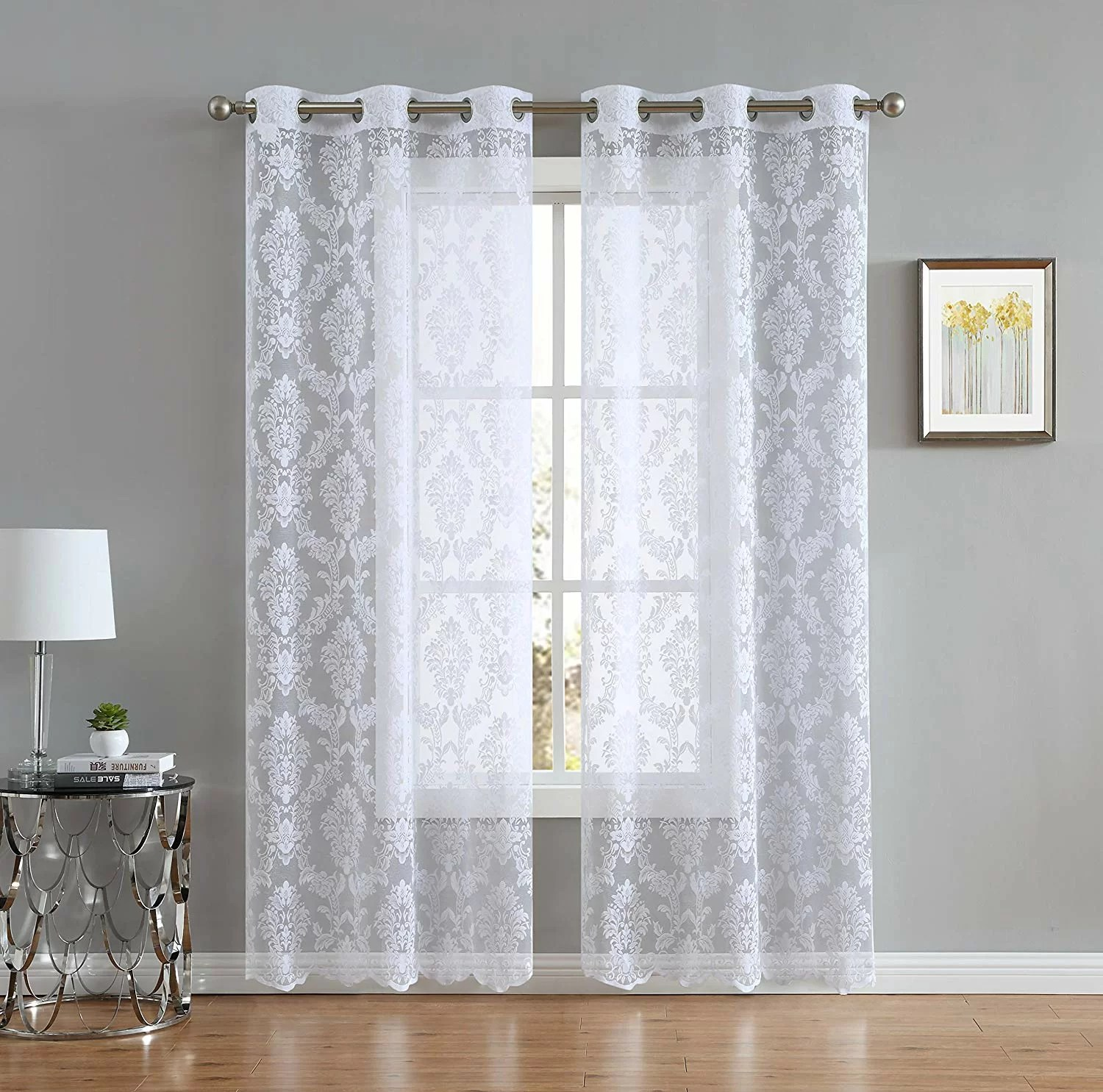 peebles knitted lace patio floral flower semi sheer curtain panels