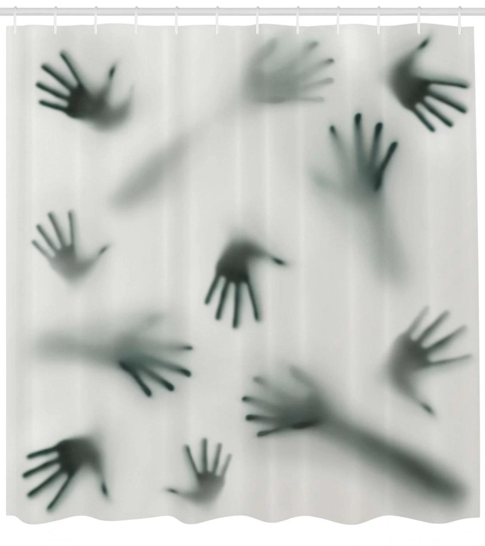 horror house frightening hands arms ghost shadow alien spirit touch mist strangers artwork shower curtain set