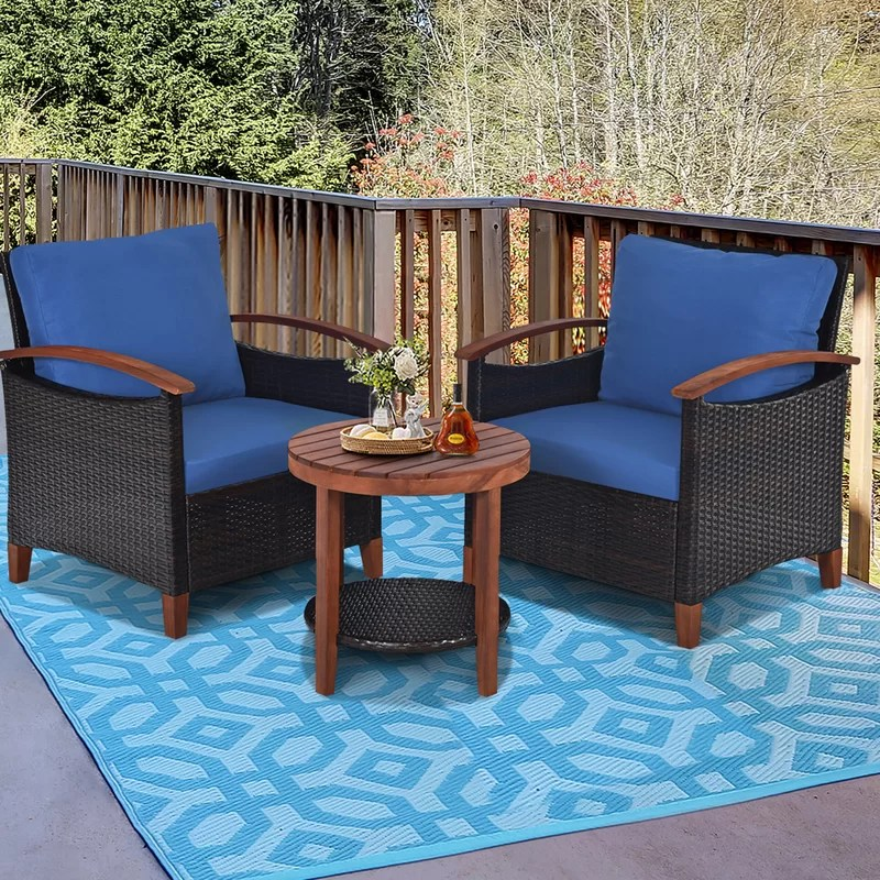 mclouth outdoor furniture 3 piece rattan seating group with cushions