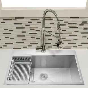 33 l x 22 w drop in kitchen sink with adjustable tray and drain strainer kit