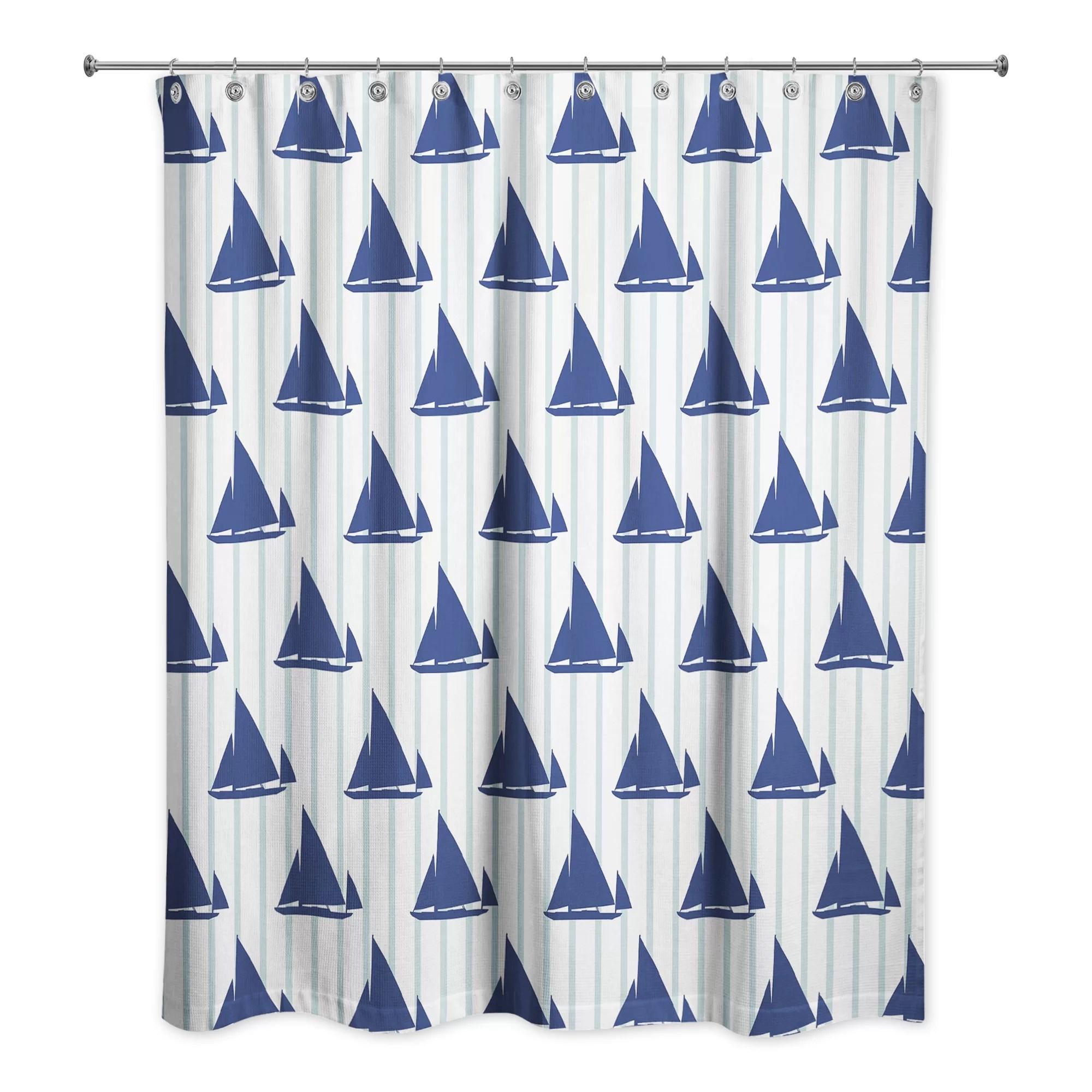 Joe Boat Stripes Single Shower Curtain