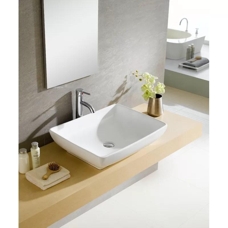 modern white ceramic rectangular vessel bathroom sink