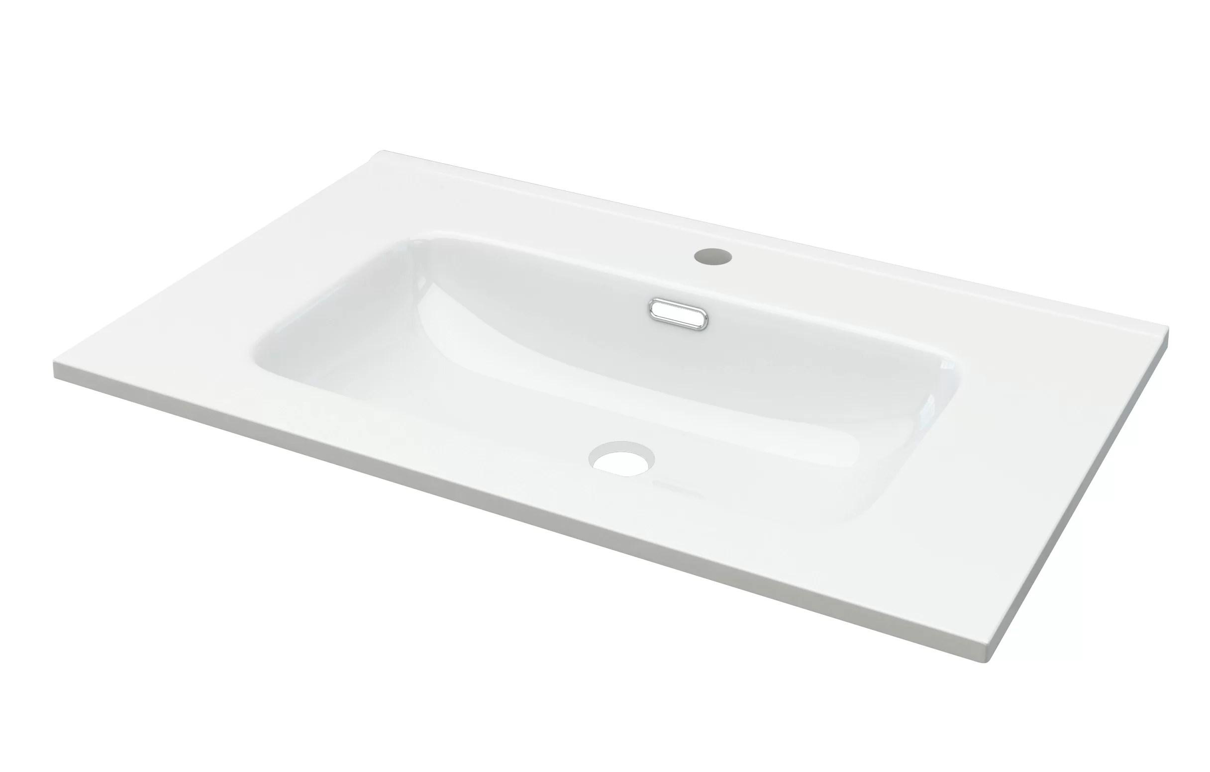 Baden Haus Ceramic Rectangular Trough Bathroom Sink Wayfair Co Uk
