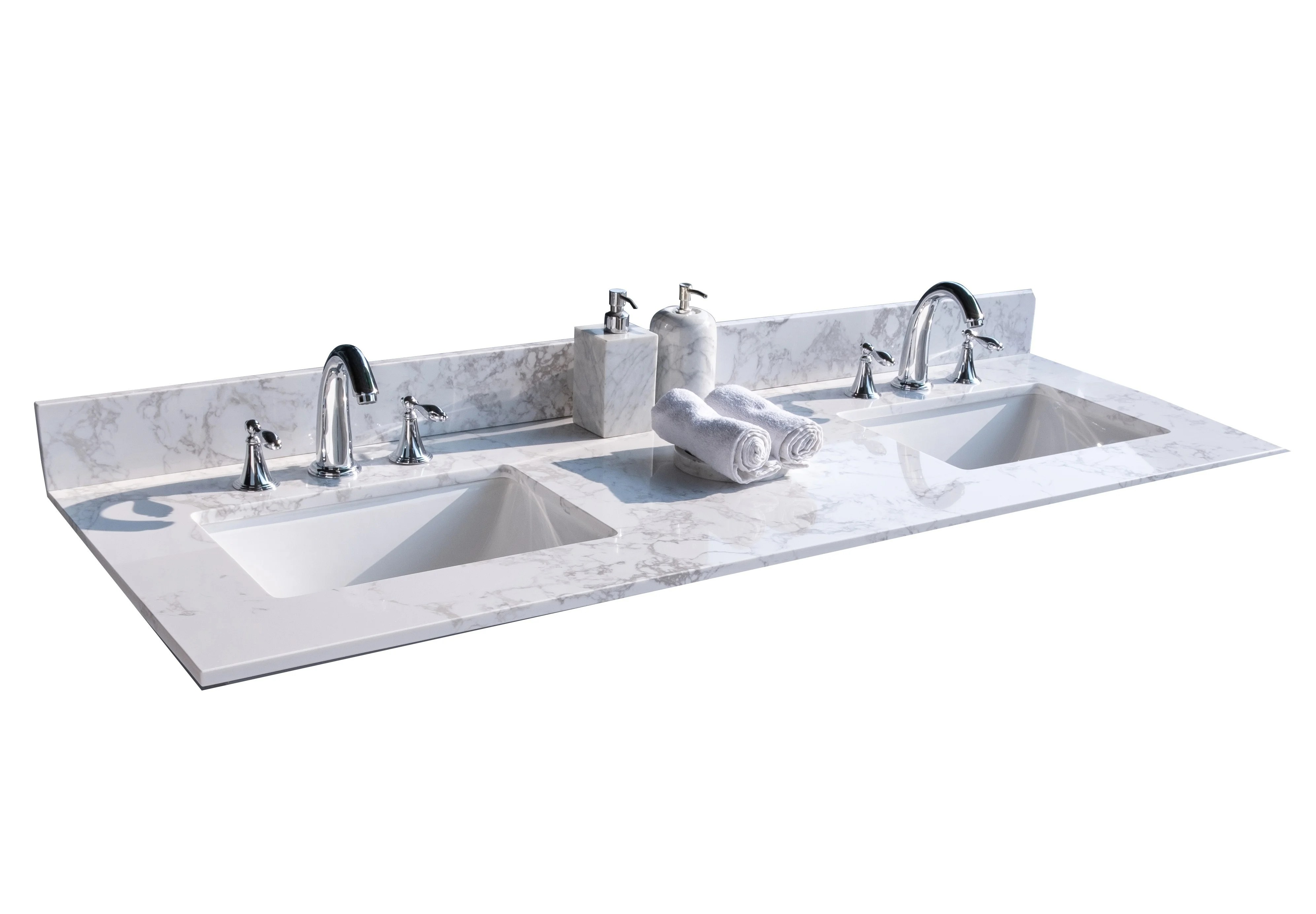61 double bathroom vanity top in white with sink