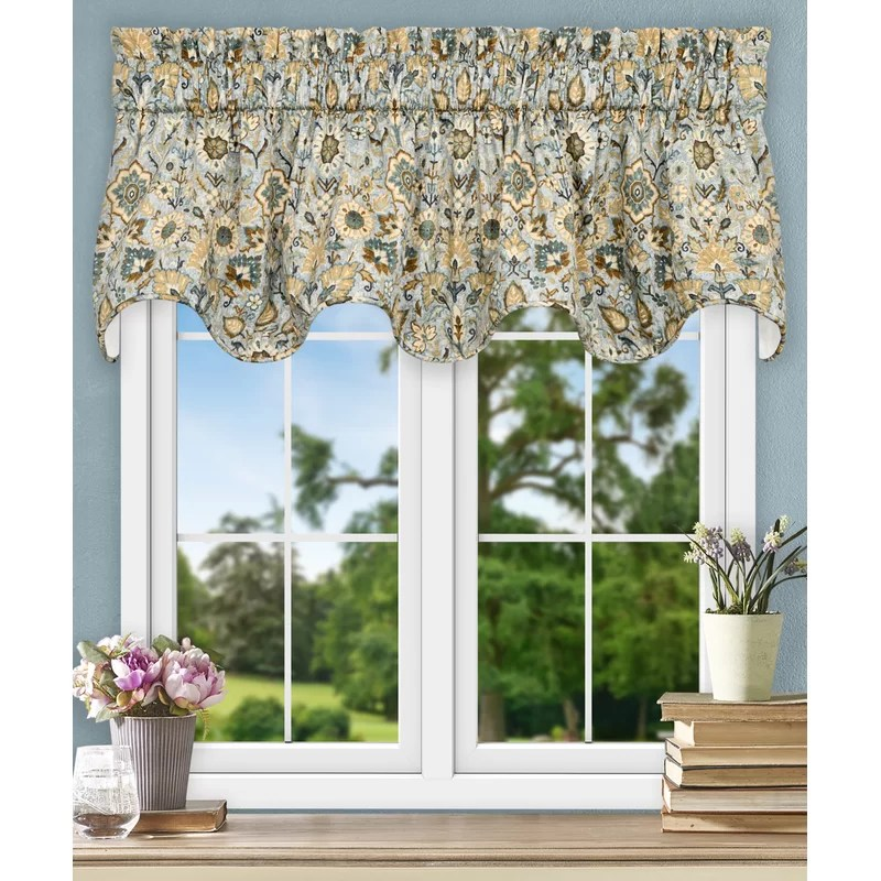 elsea jacobean floral lined scallop 70 curtain valance