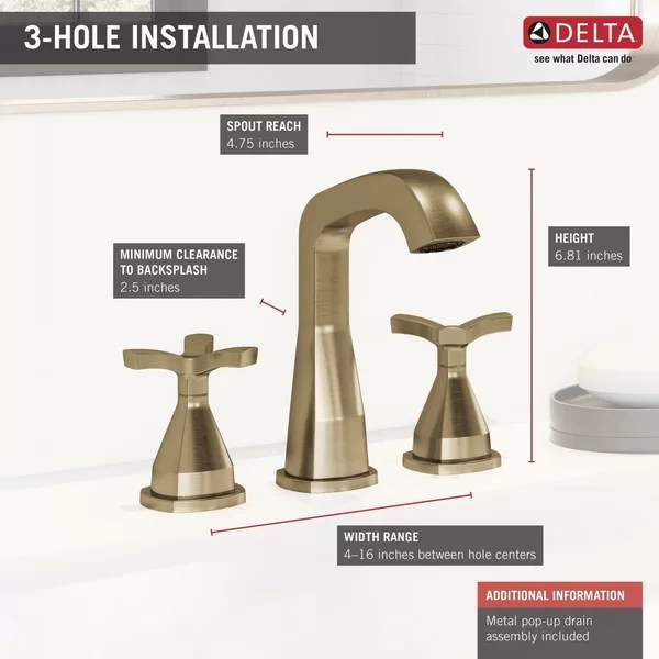 stryke widespread bathroom faucet with drain assembly and diamond seal technology