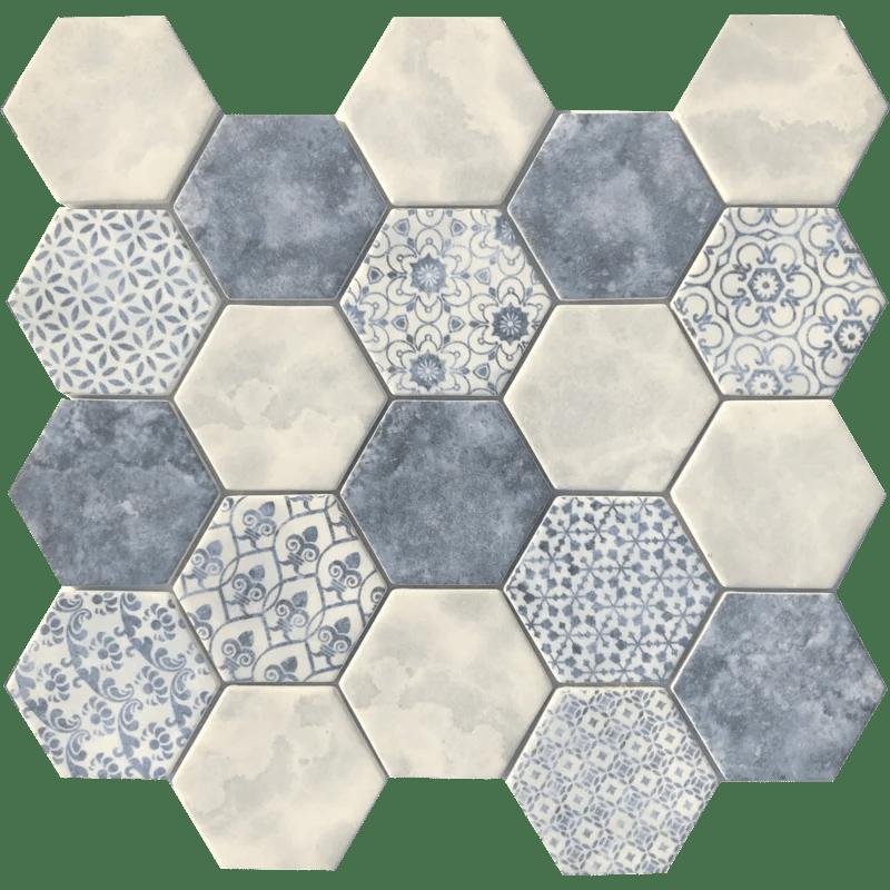 azulejo hex 3 x 3 glass mosaic tile