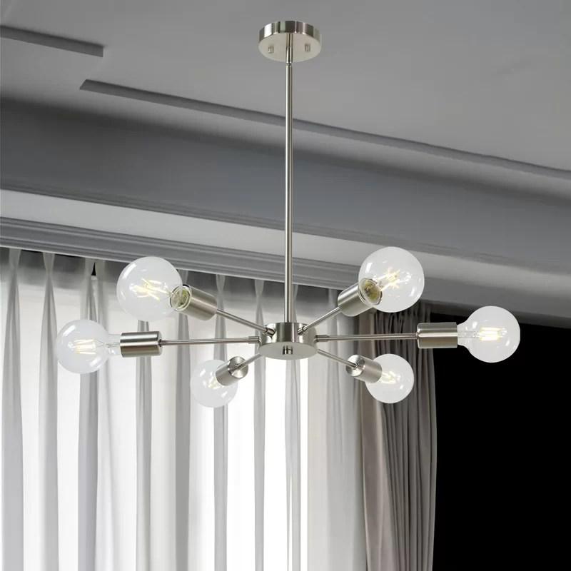 lorin 6 light sputnik modern linear chandelier