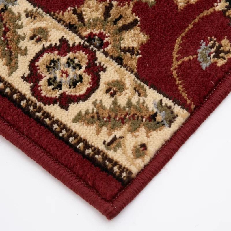 Charlton Home® Mcdavid Oriental Red Cut To Size Stair Runner | Wayfair Stair Carpet Runners | Textured Carpet | Rosalind Wheeler | Staircase Makeover | Treads Carpet | Brown Beige