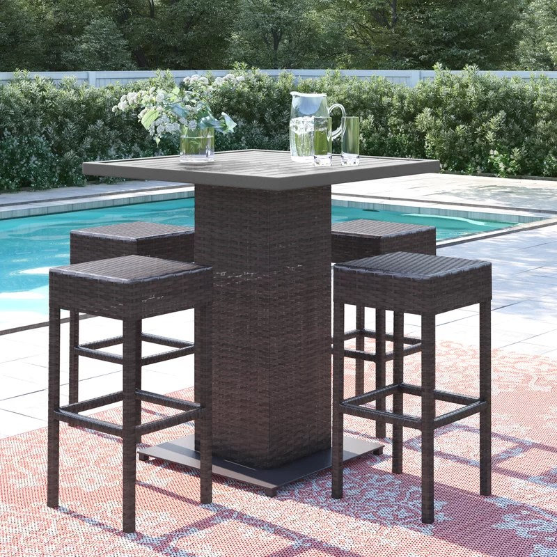 stratford square 4 person 35 5 long bar height dining set