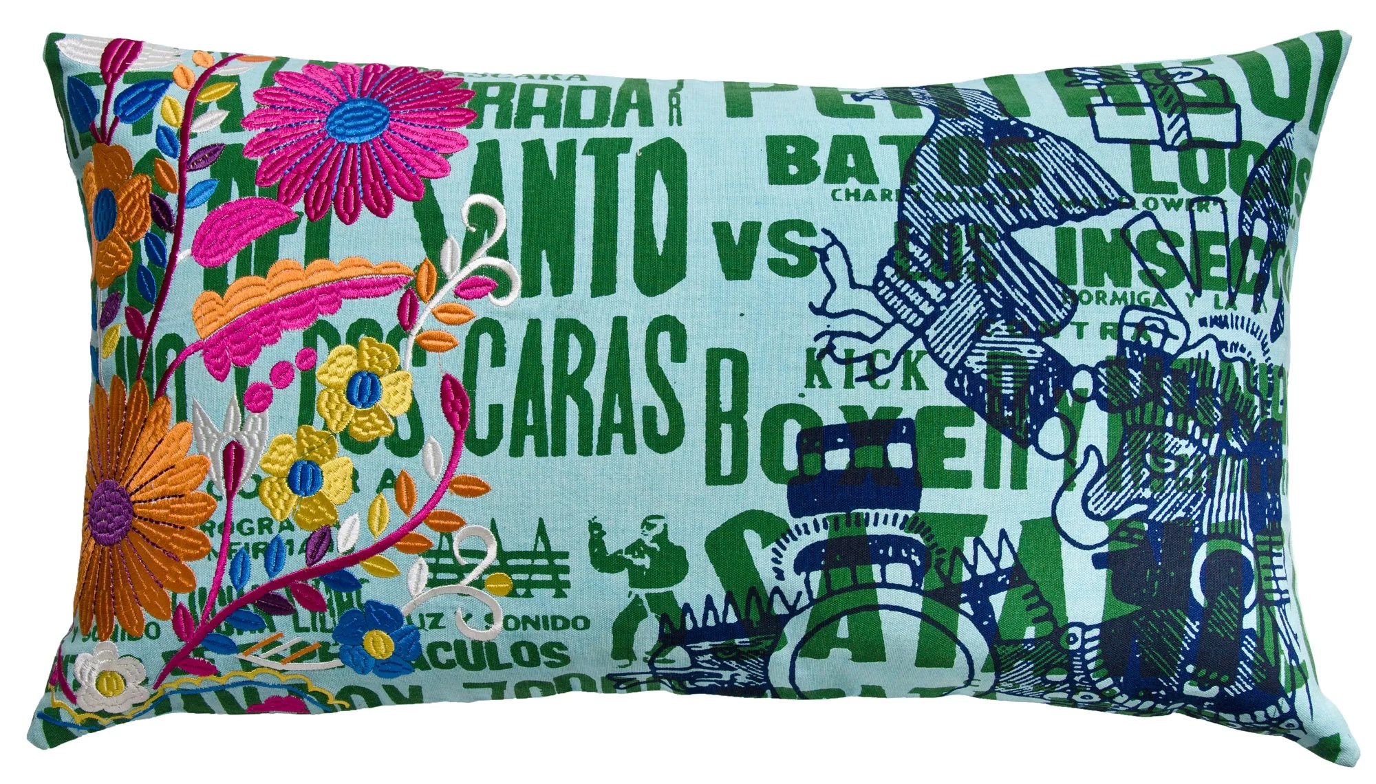 mexico eagle print cotton lumbar pillow