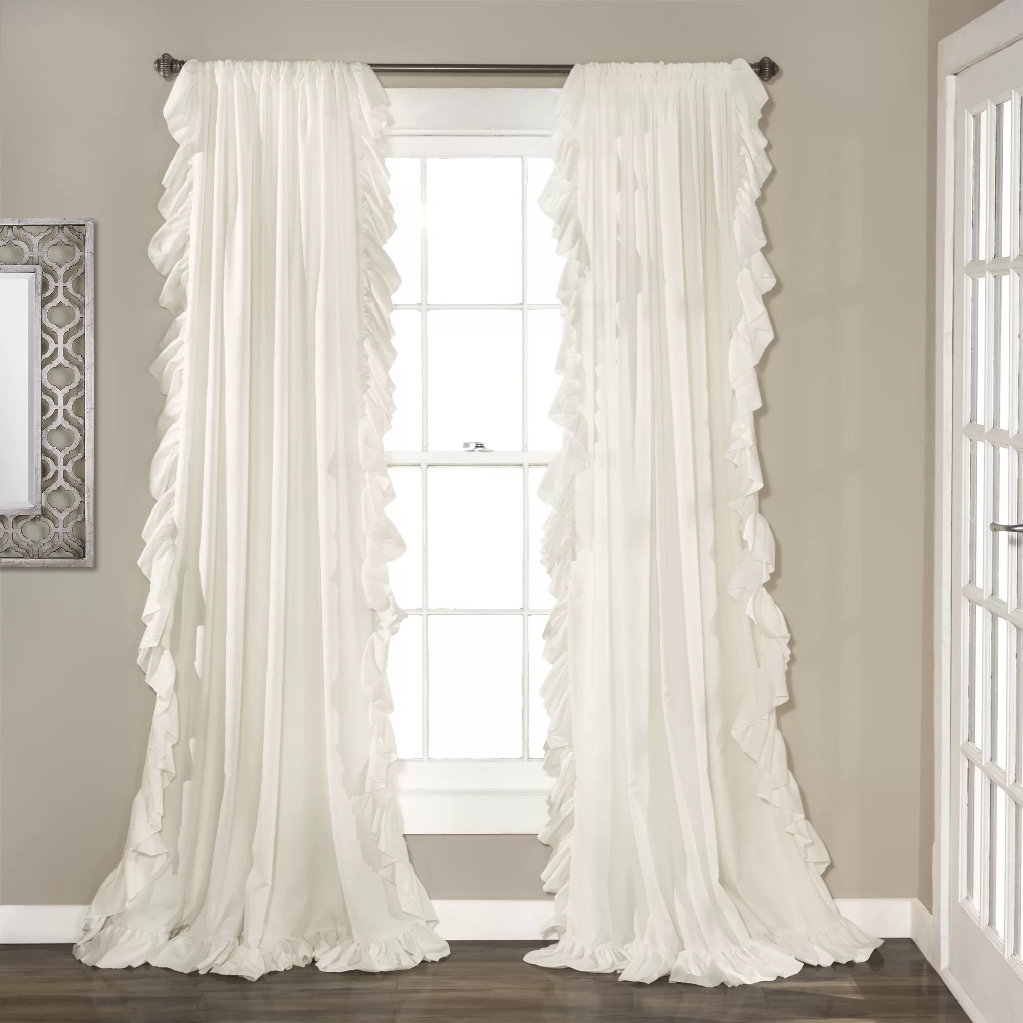 arngerus solid color semi sheer curtain panels