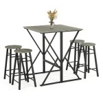 Ebern Designs 5 Piece Drop Leaf Pub Dining Table Set Folding High Table With 4 Round Bar Stools For Kitchen Dining Room Coffee Breakfast Reviews