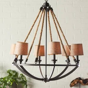 Natural Rope 6 Light Shaded Chandelier