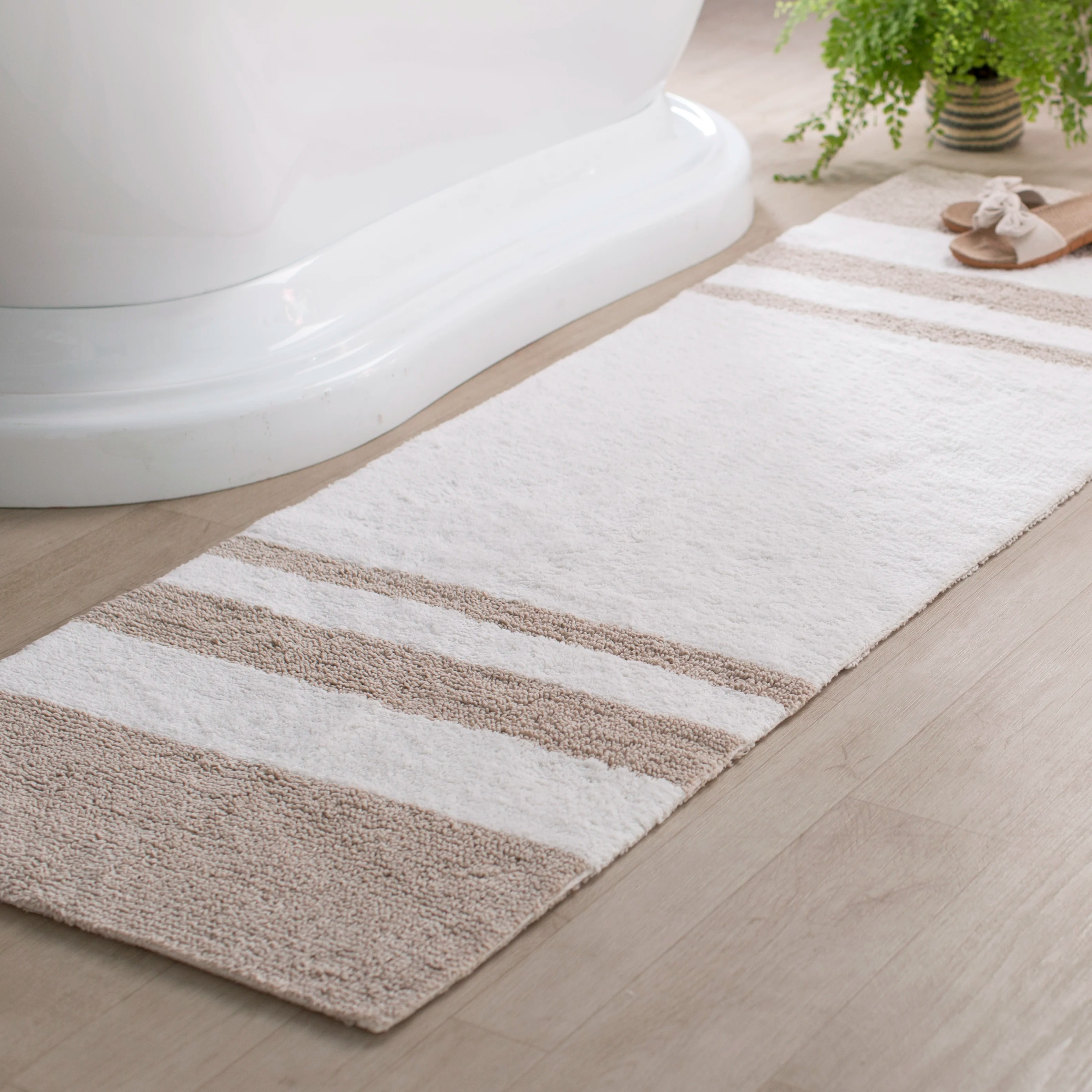 rosenbloom rectangular 100 cotton striped bath rug