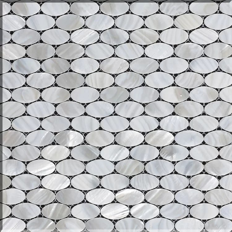 mesh mounted 0 5 x 1 authentic polished seashell mosaic tile in white