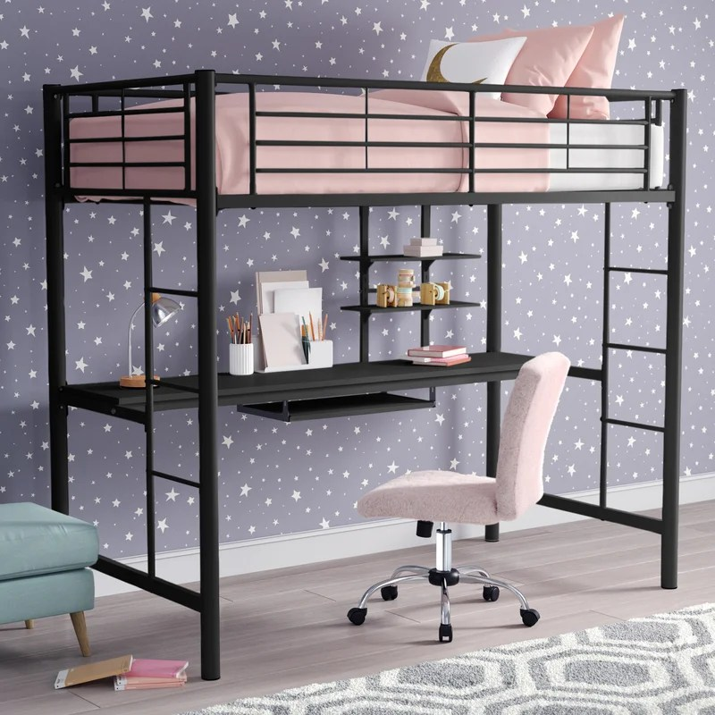 Joplin Twin Loft Bed with Desk and Bookcase