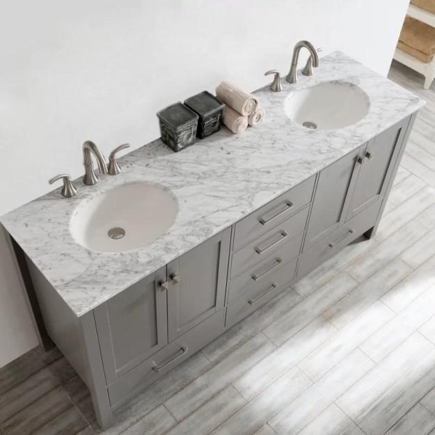 "beachcrest home newtown 72"" double bathroom vanity set & reviews"