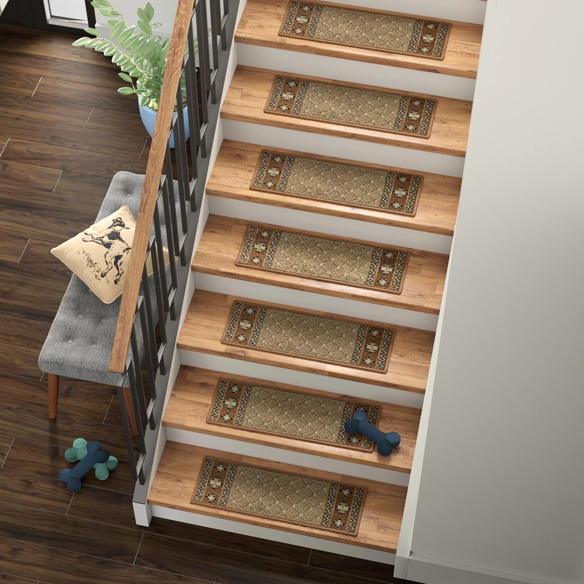 Tucker Murphy™ Pet Baynes Diamond Non Slip Rubber Backed Stair   Stair Treads With Rubber Backing   Ottomanson Softy   Removable Washable   Wood   Slip Resistant   Outdoor Stair