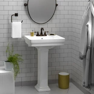 sussex vitreous china rectangular pedestal bathroom sink with overflow