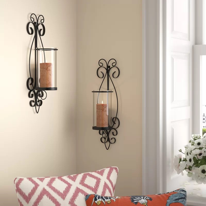 Tall Glass and Iron Wall Sconce (Set of 2)