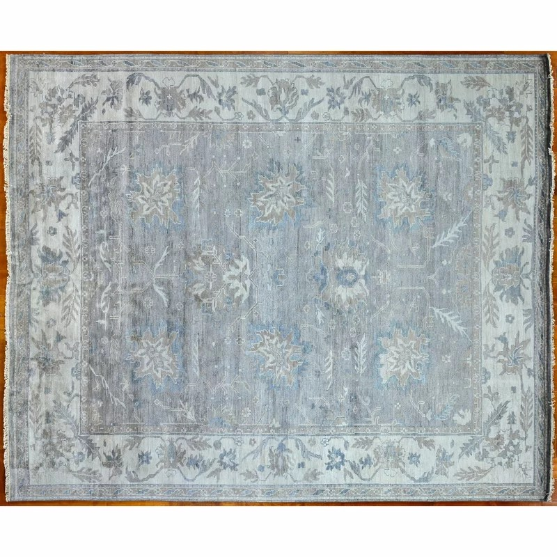 one of a kind hand knotted taupe 8 x 10 wool area rug
